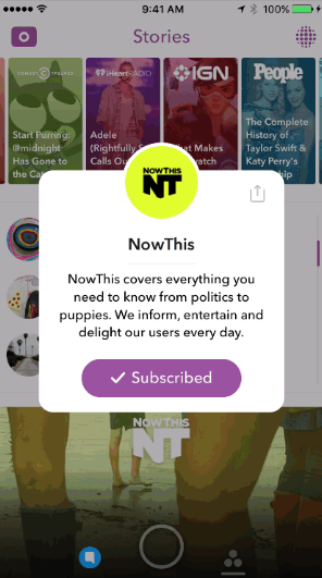 Subscribe channels in Snapchat's