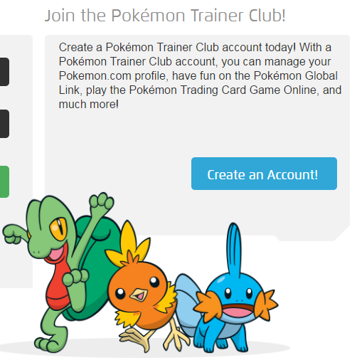 Create Pokémon Trainer Club Account