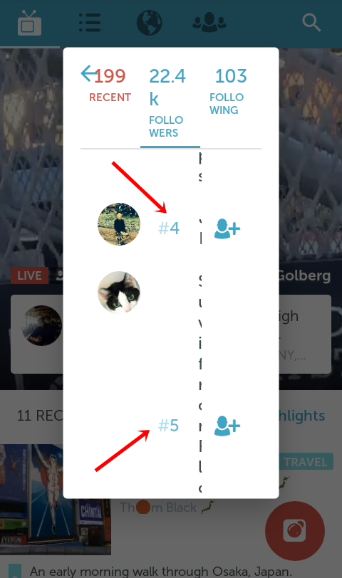Periscope friend scores