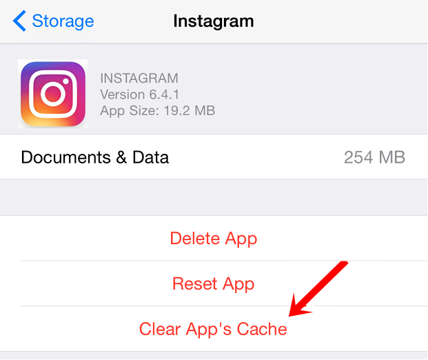 instagram clear cache ios