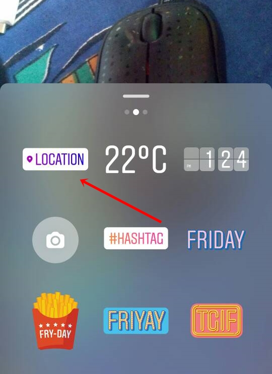 instagram location story button
