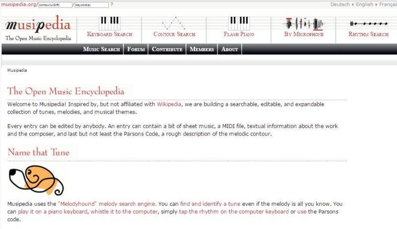 Musipedia song search